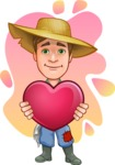 Funny Farm Man Vector Cartoon Character AKA Connor as Mr. Handsome - Love Farming Illustration with Colorful Background