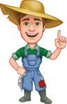 Funny Farm Man Vector Cartoon Character AKA Connor as Mr. Handsome - Making a Point