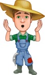 Funny Farm Man Vector Cartoon Character AKA Connor as Mr. Handsome - Making Oops gesture