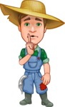 Funny Farm Man Vector Cartoon Character AKA Connor as Mr. Handsome - Making Silence Gesture