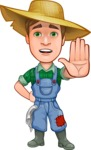 Funny Farm Man Vector Cartoon Character AKA Connor as Mr. Handsome - Making stop gesture