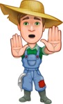 Funny Farm Man Vector Cartoon Character AKA Connor as Mr. Handsome - Making stop with a hand