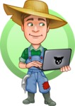 Funny Farm Man Vector Cartoon Character AKA Connor as Mr. Handsome - Online Bio Shop Concept Illustration