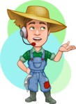 Funny Farm Man Vector Cartoon Character AKA Connor as Mr. Handsome - Online Support Illustration with Simple Shapes Background