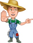 Funny Farm Man Vector Cartoon Character AKA Connor as Mr. Handsome - Pointing with a Finger