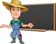 Funny Farm Man Vector Cartoon Character AKA Connor as Mr. Handsome - Pointing with a Pointer on Blackboard