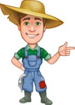 Funny Farm Man Vector Cartoon Character AKA Connor as Mr. Handsome - Pointing with Hands