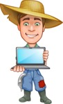Funny Farm Man Vector Cartoon Character AKA Connor as Mr. Handsome - Presenting on a Laptop