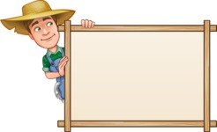 Funny Farm Man Vector Cartoon Character AKA Connor as Mr. Handsome - Presenting on Blank Whiteboard Template
