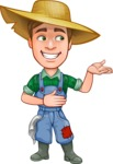 Funny Farm Man Vector Cartoon Character AKA Connor as Mr. Handsome - Presenting