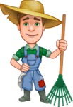 Funny Farm Man Vector Cartoon Character AKA Connor as Mr. Handsome - Ready to Work with Rake