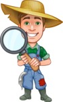 Funny Farm Man Vector Cartoon Character AKA Connor as Mr. Handsome - Searching with a Magnifier