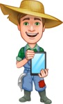 Funny Farm Man Vector Cartoon Character AKA Connor as Mr. Handsome - Showing a Blank Tablet