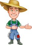 Funny Farm Man Vector Cartoon Character AKA Connor as Mr. Handsome - Showing and Looking at the Same Direction