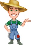 Funny Farm Man Vector Cartoon Character AKA Connor as Mr. Handsome - Showing with a Hand