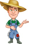 Funny Farm Man Vector Cartoon Character AKA Connor as Mr. Handsome - Showing with a Smile