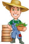 Funny Farm Man Vector Cartoon Character AKA Connor as Mr. Handsome - Smiling with Farm Vegetables