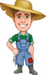 Funny Farm Man Vector Cartoon Character AKA Connor as Mr. Handsome - Smiling