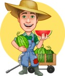 Funny Farm Man Vector Cartoon Character AKA Connor as Mr. Handsome - Summer Illustration with Bio Watermelon