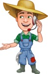 Funny Farm Man Vector Cartoon Character AKA Connor as Mr. Handsome - Support Service with Headphones