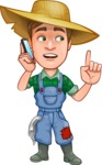 Funny Farm Man Vector Cartoon Character AKA Connor as Mr. Handsome - Talking on Phone
