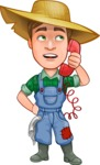 Funny Farm Man Vector Cartoon Character AKA Connor as Mr. Handsome - Talking with a Client