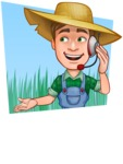 Funny Farm Man Vector Cartoon Character AKA Connor as Mr. Handsome - Talking with Client and Landscape Background Illustration