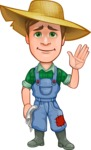 Funny Farm Man Vector Cartoon Character AKA Connor as Mr. Handsome - Waving for Goodbye with a Hand