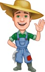 Funny Farm Man Vector Cartoon Character AKA Connor as Mr. Handsome - Waving for Hello with a Smiling Face