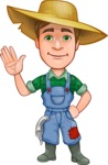 Funny Farm Man Vector Cartoon Character AKA Connor as Mr. Handsome - Waving with a Hand