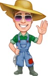 Funny Farm Man Vector Cartoon Character AKA Connor as Mr. Handsome - Waving with Smile and Glasses
