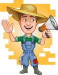 Funny Farm Man Vector Cartoon Character AKA Connor as Mr. Handsome - Welcoming Clients to Bio Garden with Flat Background