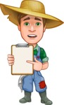 Funny Farm Man Vector Cartoon Character AKA Connor as Mr. Handsome - With a Notepad