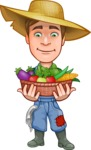 Funny Farm Man Vector Cartoon Character AKA Connor as Mr. Handsome - With Basket full of Vegetables