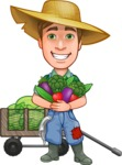 Funny Farm Man Vector Cartoon Character AKA Connor as Mr. Handsome - With Big Variety of Garden Vegetables