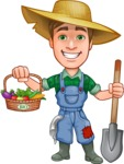 Funny Farm Man Vector Cartoon Character AKA Connor as Mr. Handsome - With Bio Vegetables