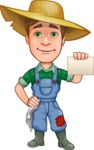Funny Farm Man Vector Cartoon Character AKA Connor as Mr. Handsome - With Blank Businesscard