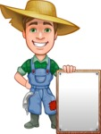 Funny Farm Man Vector Cartoon Character AKA Connor as Mr. Handsome - With Blank Farm Sign