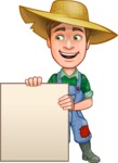 Funny Farm Man Vector Cartoon Character AKA Connor as Mr. Handsome - With Blank Presentation Sign