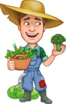 Funny Farm Man Vector Cartoon Character AKA Connor as Mr. Handsome - With Broccoli