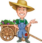 Funny Farm Man Vector Cartoon Character AKA Connor as Mr. Handsome - With Cart full of Vegetables and Smiling