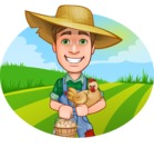 Funny Farm Man Vector Cartoon Character AKA Connor as Mr. Handsome - With Chicken and Eggs in the Field Illustration