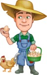 Funny Farm Man Vector Cartoon Character AKA Connor as Mr. Handsome - With Chicken and Eggs