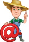 Funny Farm Man Vector Cartoon Character AKA Connor as Mr. Handsome - With Email Sign