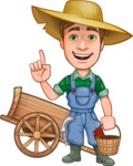 Funny Farm Man Vector Cartoon Character AKA Connor as Mr. Handsome - With Farm Cart