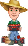 Funny Farm Man Vector Cartoon Character AKA Connor as Mr. Handsome - With Fresh Garden Tomatoes