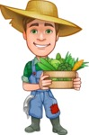 Funny Farm Man Vector Cartoon Character AKA Connor as Mr. Handsome - With Fresh Garden Vegetables