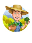 Funny Farm Man Vector Cartoon Character AKA Connor as Mr. Handsome - With Fresh Summer Bio Vegetables Sticker Template