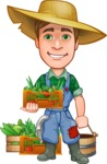 Funny Farm Man Vector Cartoon Character AKA Connor as Mr. Handsome - With Garden Groceries