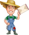 Funny Farm Man Vector Cartoon Character AKA Connor as Mr. Handsome - With Letter Envelope